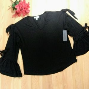 Tops - Roommates Open Bell Sleeves Black Semi Sheer Top